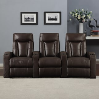 ProLounger Home Theater Brown Renu Leather 3 Piece Wall Hugger Recliner Chair Set