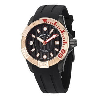 Stuhrling Original Men's Manta Ray Black Swiss Quartz Strap Watch