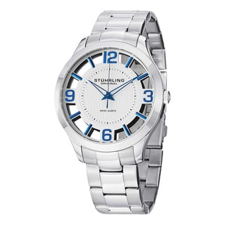 Stuhrling Original Men's Winchester Court Silver Swiss Quartz Strap Watch