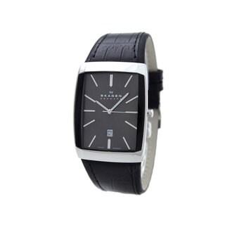 Skagen Men's Black Leather Swiss Quartz Watch