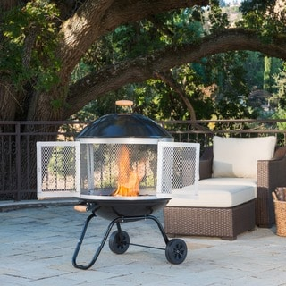 FP005 Wheeled Fire Pit with Black Enamel Finish