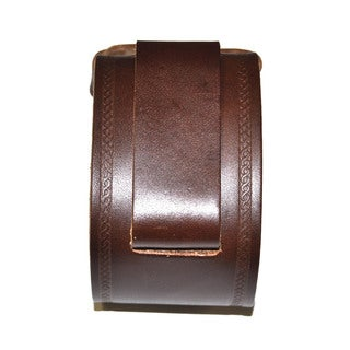 Nemesis Embossed Strip Dark Brown Leather Band