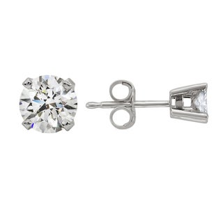 14k White Gold 1/2ct TDW Round Diamond Stud Earrings (H-I, SI2)