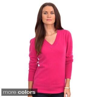 Italian Made Luigi Baldo Women's Italian Cashmere Classic V-neck Sweater