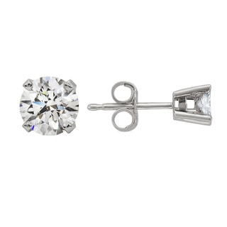 14k White Gold 3/8ct TDW Round Diamond Stud Earrings (H-I, SI2)