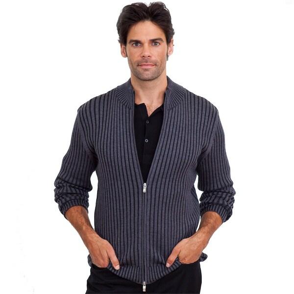 Luigi Baldo Italian Made Men's Full Zip Ribbed Sweater 11886357