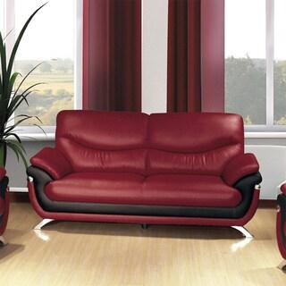 Alicia Red/Black Faux Leather Modern Sofa