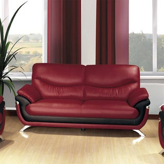 Alicia Red/Black Faux Leather Modern Sofa