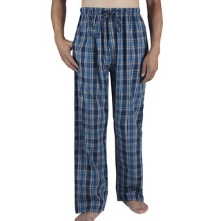 Leisureland Men's Dark Blue Plaid Cotton Poplin Lounge Pants