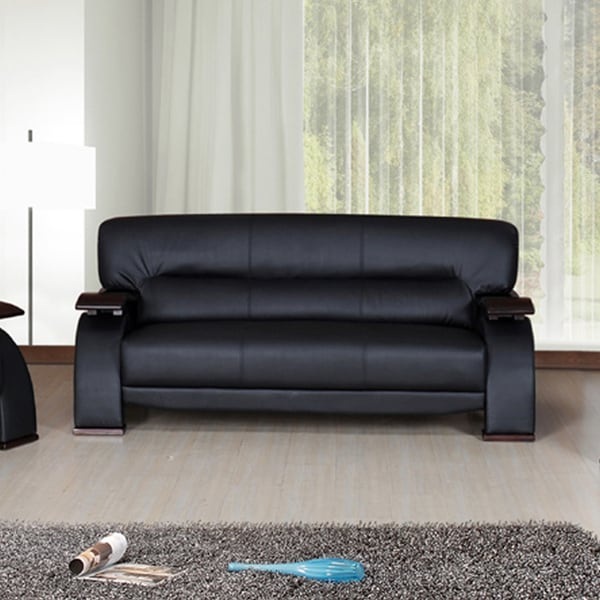 Selina Bonded Leather Black Modern Sofa