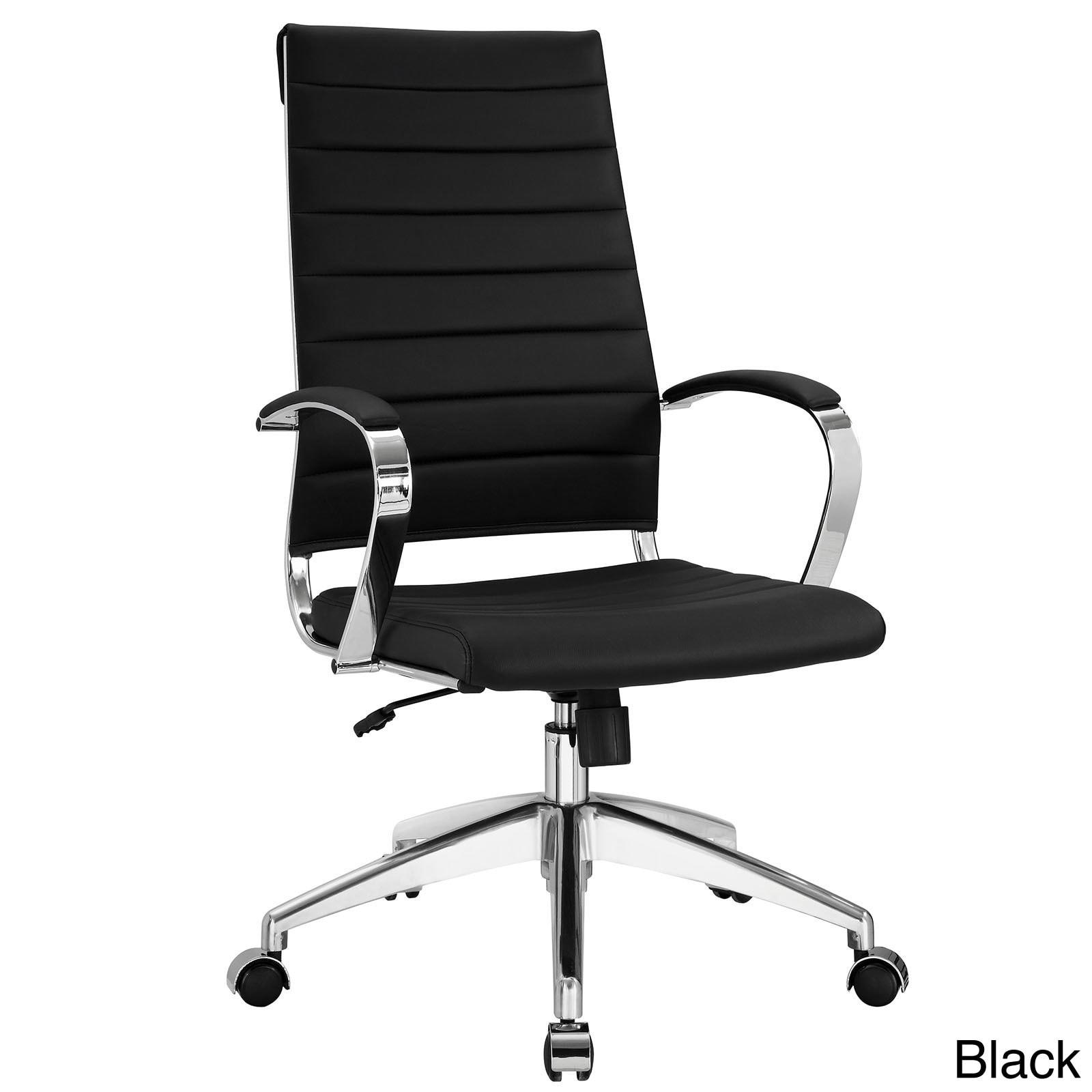 Modway Black Vinyl Jive Ribbed High Back Executive Office Chair