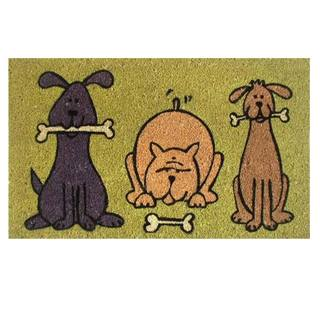 17 x 29-inch Doggie Fun Coir with Vinyl Backing Doormat