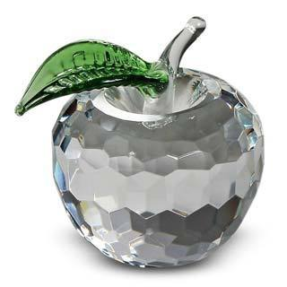 Crystal Florida Crystal Medium Apple with Green Leaf
