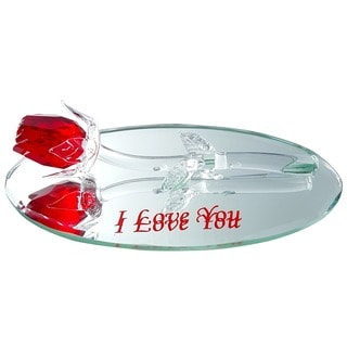 Crystal Florida Crystal Red Rose 'I Love You' Engraving