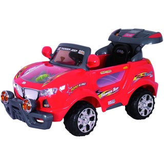 Best Ride On Cars Red Kids Thunder Jeep Ride-on Car