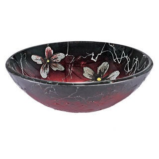 Red/ Black Floral Glass Sink Bowl