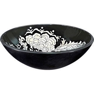 Black/ White Floral Glass Sink Bowl