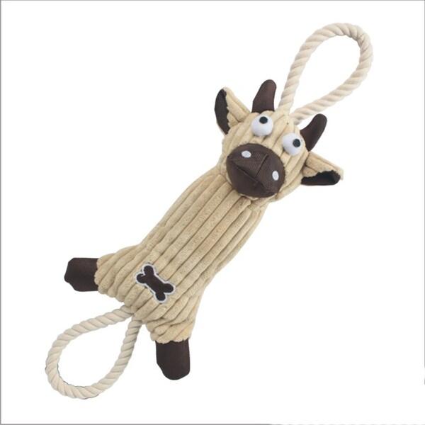 Ultra Plush Animal Squeak Jute Rope Dog Pet Toy
