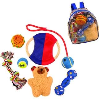Pet Life Red/ Blue Backpack Dog Toy Set