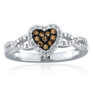 10k Gold 1/5ct TDW Brown and White Diamond Heart Ring (H-I, I1-I2)