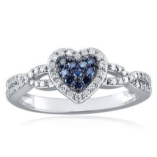 10k Gold 1/5ct TDW Blue and White Diamond Heart Ring (H-I, I1-I2)