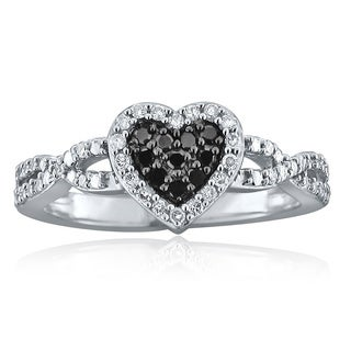 10k Gold 1/5ct TDW Black and White Diamond Heart Ring (H-I, I1-I2)
