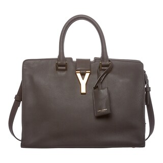 Saint Laurent 'Y Cabas' Classic Small Grey Leather Bag