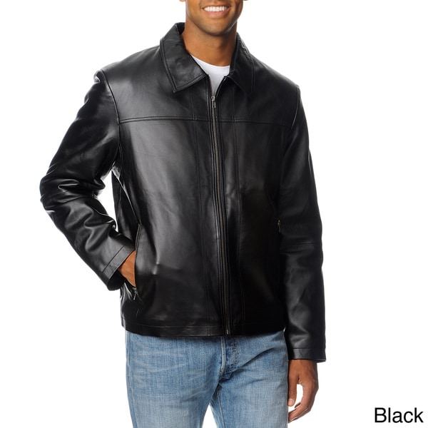R&O Men's Zip Pocket Lamb Leather Jacket
