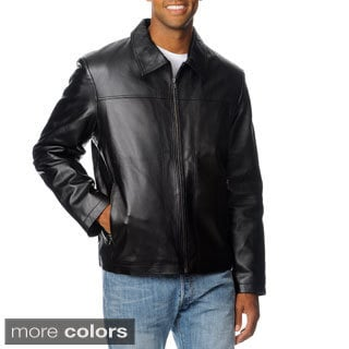 R&O Men's Zip Pocket Lamb Leather Jacket