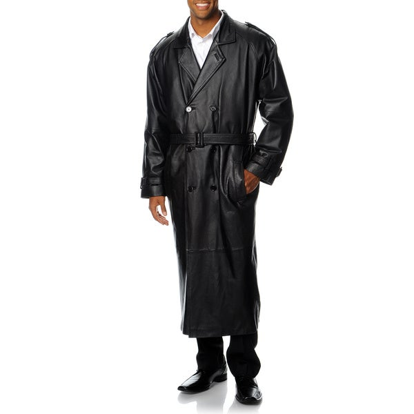 Excelled Men's Black Leather Trench Coat