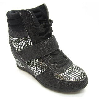 Blue Children's 'K-RYKER FAB' Black Sequined Wedge Sneakers