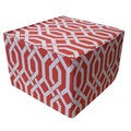 Red and White Fork Ottoman