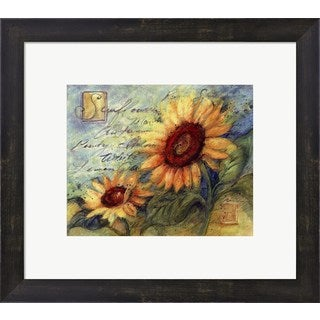 Susan Winget 'Sunflowers On Blue' Framed Art
