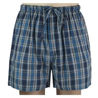 Leisureland Men's Dark Blue Plaid Cotton Pajama Shorts