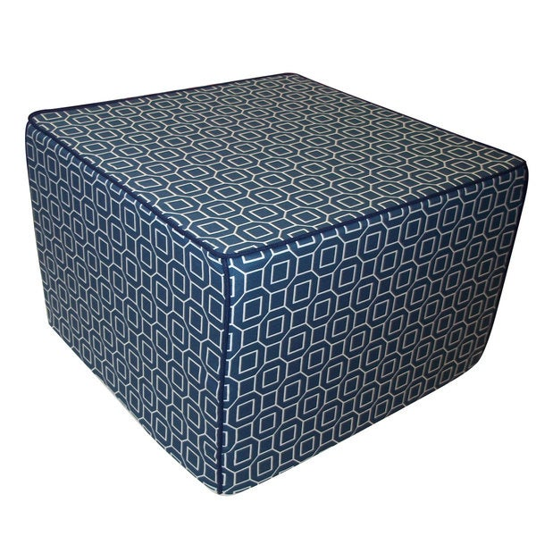Steel Blue Hexagon Ottoman