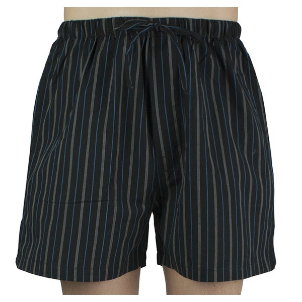 Leisureland Men's Black Striped Cotton Pajama Shorts