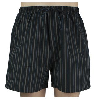 Leisureland Men's Black Striped Cotton Pajama Shorts