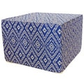 Blue and White Diamond Print Square Ottoman