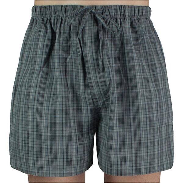 Leisureland Men's Grey Plaid Cotton Pajama Shorts