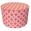 Red Mechanical Print Round Ottoman