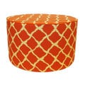 Orange Fishnet Print Round Ottoman