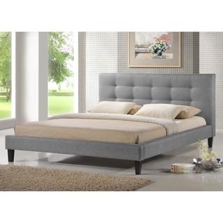 Baxton Studio Quincy Grey Linen Platform Bed - King Size