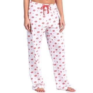 Leisureland Women's Smooch Lips Print Cotton Knit Lounge Pants
