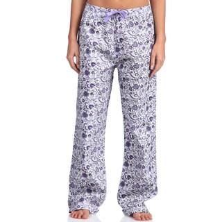 Leisureland Women's Purple Floral Poplin Pajama Pants