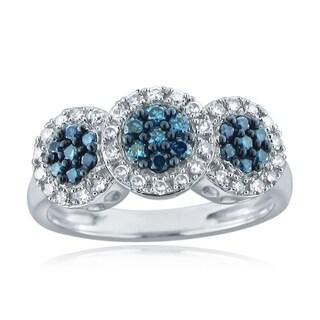 10k White Gold 1/4ct TDW Blue and White Diamond Ring (H-I, I1-I2)