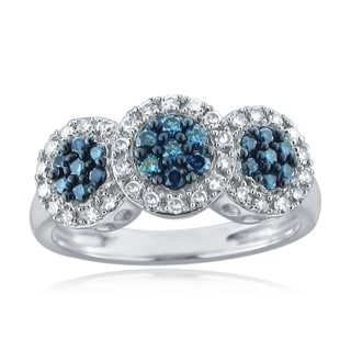 10k White Gold 1/4ct TDW Blue and White Diamond Ring (H-I, I1-I2)