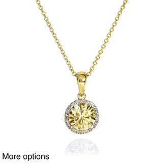 14k Yellow or White Gold Fancy Yellow Moissanite and 1/10 ct TDW Diamond Necklace (G-H, I1-I2)