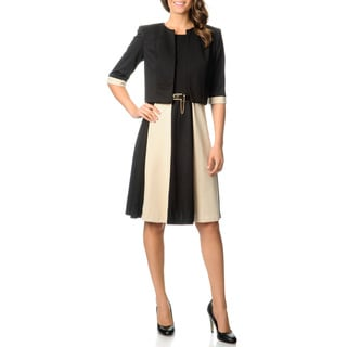 R & M Richards Women's Black/ Taupe Jacket and Dress Set
