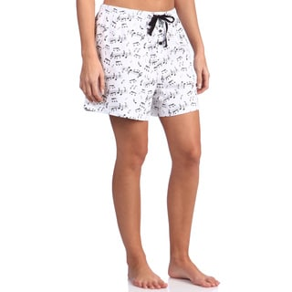 Leisureland Women's Music Notes Cotton Knit Pajama Boxer Shorts