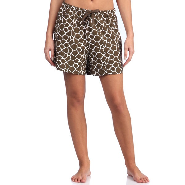 Leisureland Women's Giraffe Brown Cotton Knit Boxer Shorts